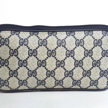 MINT! GUCCI Navy Monogram Leather GG Clutch Zip Pouch Wallet Bag by TradingTraveler