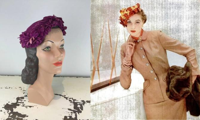 Wait...What Did Louise Just Say? - Vintage 1950s Magenta Fuchsia Pink Velvet Petal Slant Caplet Hat by RoadsLessTravelled2