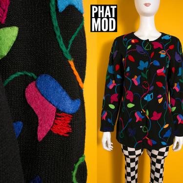 Michael Simon Vintage 90s Black Cardigan with Rainbow Vines & Leaves by RETMOD