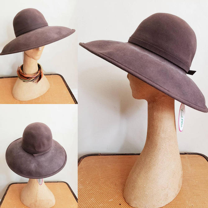 70s Brown Wool Fedora Frank Olive Marshall Field's Deadstock / 70s Designer Large Wide Brimmed Hat NOS New Old Stock / Gloria by RareJuleVintage
