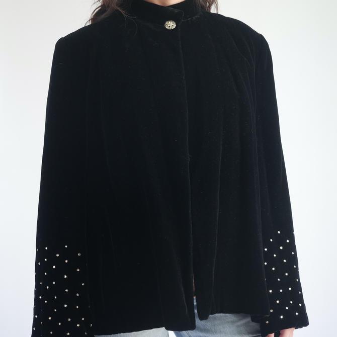 Black Velvet Coat with Rhinestone Sleeves fit M - XL by BeggarsBanquet