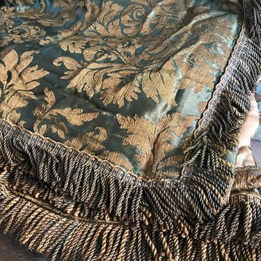 Antique Tapestry Drapery Upholstery Fabric, Floral Silk Jacquard Brocade, Repurpose Project Fabric, Chateau Decor, KH by JansVintageStuff