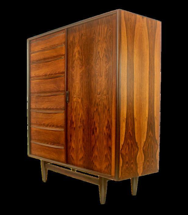 Scandinavian Modern Rosewood Gentleman's Chest w/Tambour Door by Kofod Larsen
