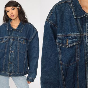 80s Denim Shearling Jacket Denim Sherpa Jacket 90s  Jean Jacket 1980s Oversized Trucker Biker Coat Blue Vintage 90s Fleece Large xl l by ShopExile