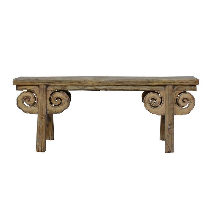 Vintage Chinese Slim Carving Apron Wood Seating Bench cs5341S