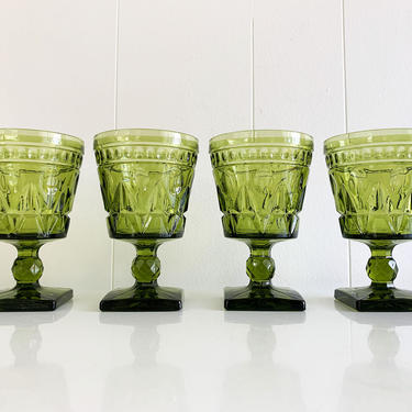 Vintage Park Lane Green Water Glasses Square Base Goblet Set of Four (4) Indiana Glass Yellow 1960s Wine Boho MCM Mid-Century 60s by CheckEngineVintage