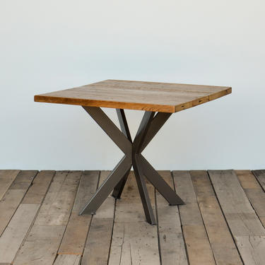 Square Top Reclaimed Wood Pedestal Table, cafe table with hand welded steel pedestal base in your choice of size and finish by UrbanWoodGoods