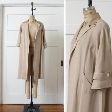 vintage 1950s swing coat • textured linen & velvet in tan • lightweight clutch coat by LivingThreadsVintage