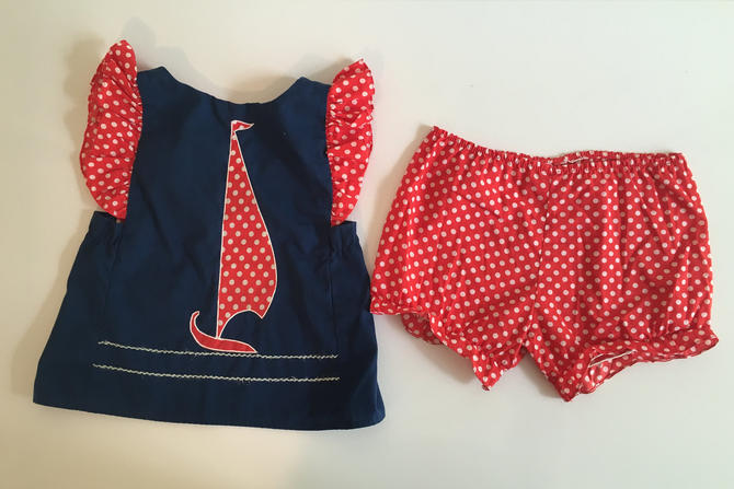 Vintage Children's Sailboat Top Bloomers Ceil Ainsworth Kid's Sleeveless Girl's Red Ruffles Polka Dot Children Playsuit Blue Red White by CheckEngineVintage