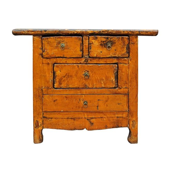 Chinese Rustic Rough Wood Distressed Orange Side Table Cabinet cs2498S