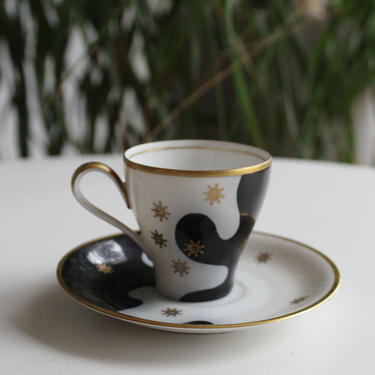 Rare Bavarian Antique Espresso/ Tea cup, Small size, German design, Gold and abstract sunburst / Black and white from 20s to 40s by FancyHaus