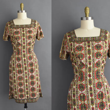vintage 1950s   Super Soft Red & Gold Paisley Print Short Sleeve Holiday Cocktail Party Wiggle Dress   Medium   50s dress by simplicityisbliss