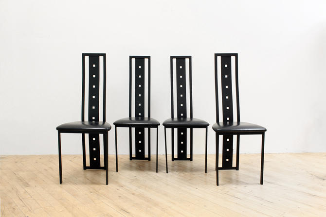 Postmodern Highback Dining Chairs Amisco Gibo Creations 90s 80s Post Modern by 330Modern