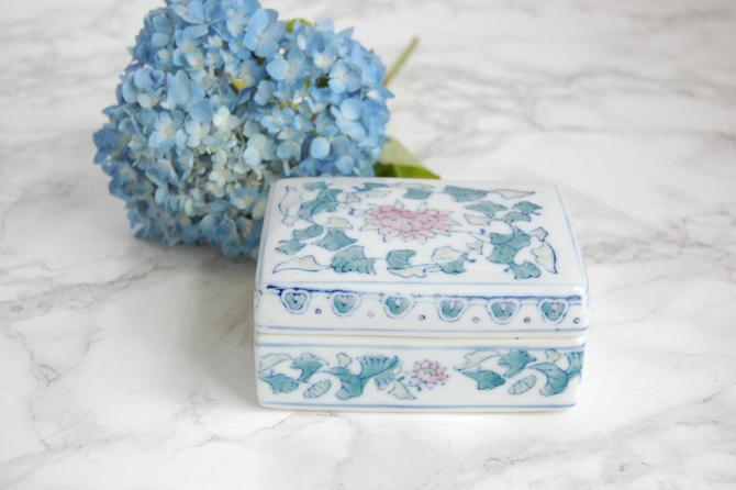 Porcelain Box Decorative Asian Box Pink Blue Chinoiserie Decor by PursuingVintage1