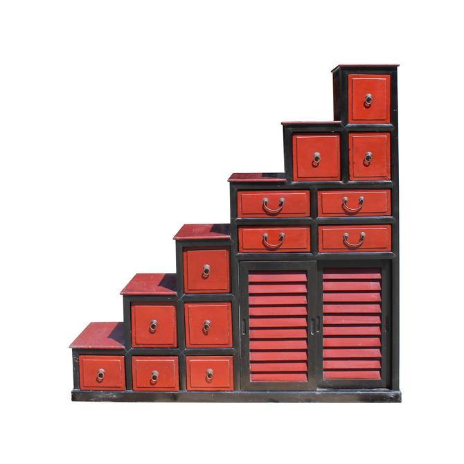 Chinese Distressed Brick Red Black Tansu Step Cabinet cs5788S