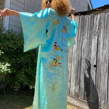 Vintage KIMONO Dragon Kimono, vintage Japanese silk Kimono with wrap turquoise blue dress robe nightie slip gown small medium large one size by RETROSPECTNYC