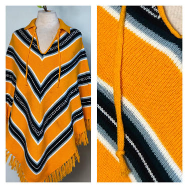Vintage 1960s 1970s Knit Poncho Cape Striped Sweater Yellow Green Black Grey White Striped Triangle Pullover Neck Wrap Cover Up  One Size by KeepersVintage