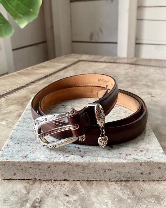 90s Heart Trim Brown Leather Belt
