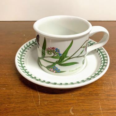 Vintage Portmeirion The Botanic Garden Flat Cup and Saucer by OverTheYearsFinds