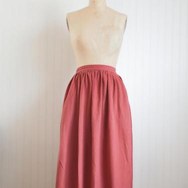 70s velvety dusty rose skirt - 27 waist by foganddriftwood
