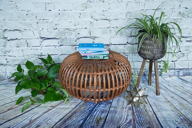 SHIPPING NOT FREE! Vintage Rattan Franco Albini Ottoman /Footstool/End Table/Side Table by WorldofWicker
