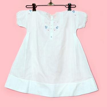 Pink & Blue White Cotton Baby Dress, Vintage Infant Dress Christening Gown, Hand Embroidered Vintage Kids Clothing, Toddler by Boutique369