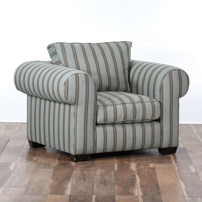 Nautical Striped Roll Arm Overstuffed Armchair