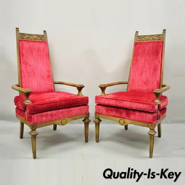 Vintage Italian Hollywood Regency Red High Back Lounge Arm Chairs - a Pair
