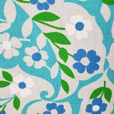 Vintage 1950's Floral Print Fabric / 60s Teal and Aqua Blue Floral Fabric by SilhouettetsyVintage