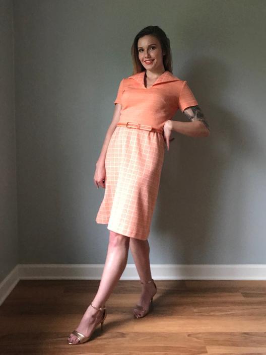 Vintage 70s Orange Leisure Dress Suit by SpeakVintageDC