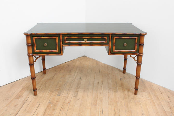 Vintage French Colonial Faux Bamboo Desk Directoire Chinoiserie Julia Gray NYC by 330ModernAntique