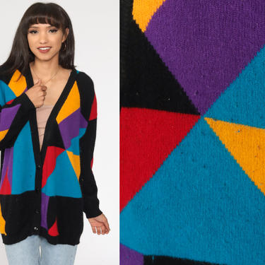 Color Block Cardigan Sweater -- 90s Wool Angora Cardigan Knit Button Up 1980s Vintage Nerd Oversized Color Block 80s Large by ShopExile