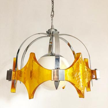 vintage mid century resin chrome globe pendant hanging lamp by TripodModern