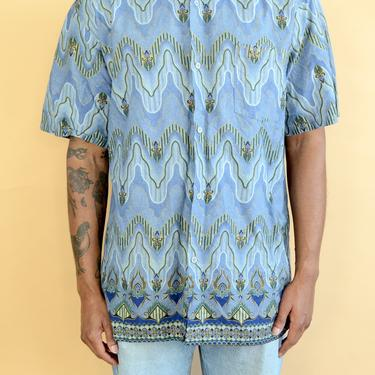 Reclaimed 80s 90s Abstract Print Short Sleeve Button Down Shirt Large Oversize XL by MAWSUPPLY