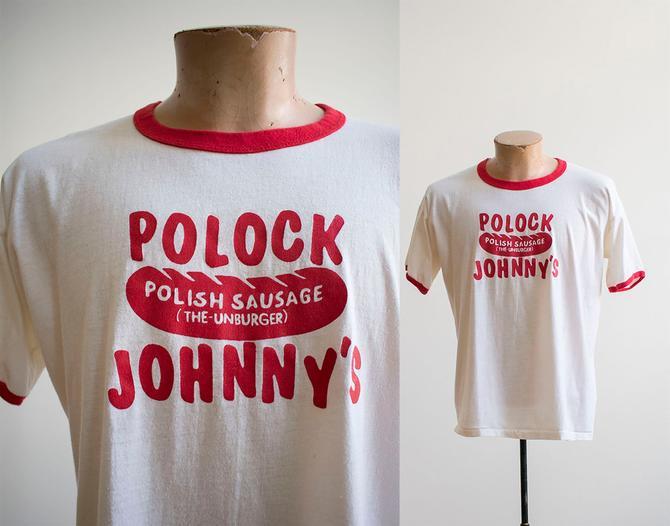 Vintage 1970s Polock Johnnys Ringer Tshirt / Polish Sausage Tshirt / Vintage Boardwalk Tee / Boardwalk Ringer Tee / Polock Johnnys Tshirt by milkandice
