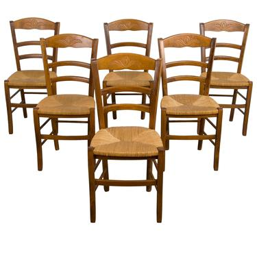 Vintage Set of 6 Petite Country French Farmhouse Oak Dining Chairs W/ Rush Seats by StandOutSpaces