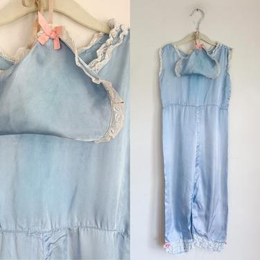 Vintage 1930s Little Girl's Beach Pajamas with a matching hat / 7-8x by MsTips