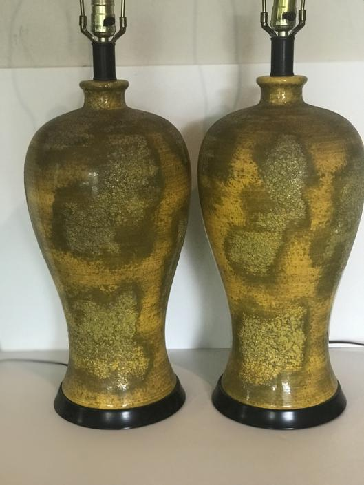 Pair of Mid Century Yellow Ceramic mottled lamps