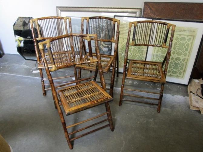 SET OF FOUR VINTAGE BAMBOO FOLDING CHAIRS