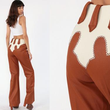 70s Bell Bottoms Pants -- Boho Hippie Bellbottom Western Shiny Brown High Waisted 1970s Vintage Bohemian Trousers High Rise Small 26 Tall by ShopExile