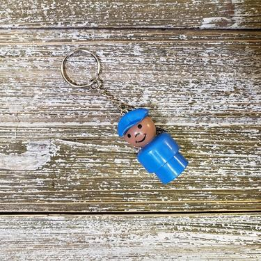 Vintage Fisher Price Little People Keychain, African American Pilot & Mailman, Plastic Body Head, Young Man Boy Keyring Charm, Retro Toys by AGoGoVintage