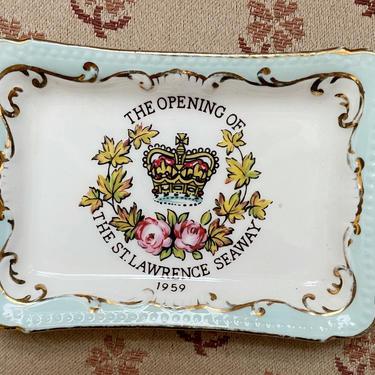 Vintage Decorative Saint Lawrence Seaway Tray | 50s Montreal Souvenir Plate by blindcatvintage