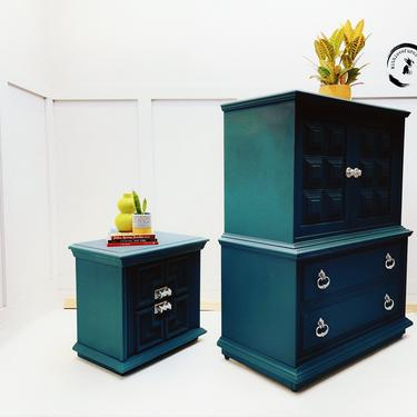 Mid Century Modern Highboy/Emerald Green Dresser/ Hollywood Regency Chest of Drawers and Nightstand/ Boho Green by withlovefurniture10