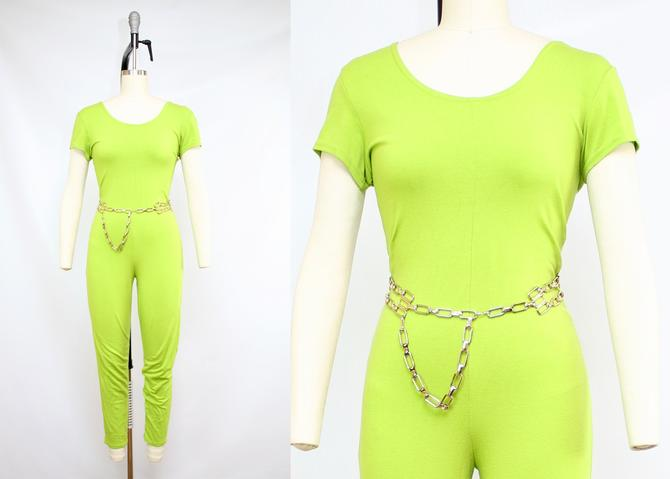 Vintage 90's NEON GREEN Leotard Jumpsuit / 1990's Funky Stretchy Jumpsuit / Summer / Women's Size Small Medium Large by RubyThreadsVintage