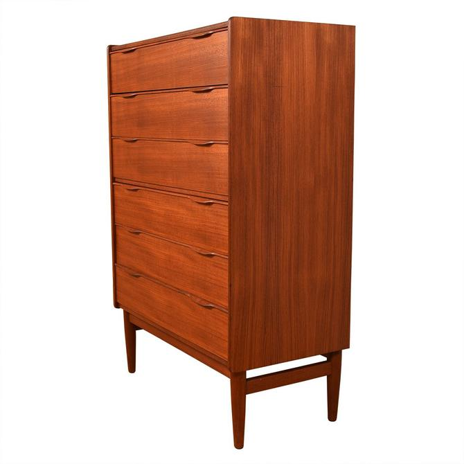 Danish Modern Tall Teak Compact Dresser w/ Sculpted Pulls
