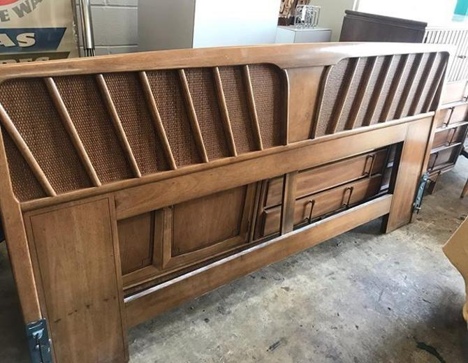 Mid Century burl and cane headboard. 78 length, King Size.