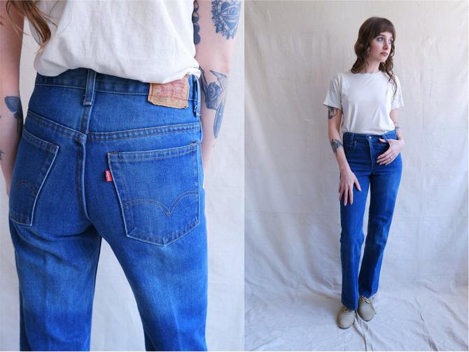 Vintage 70s Levis 717 Denim/ 1970s High Waisted Straight Leg Faded Jeans/ Polyester Cotton Blend/ Student Fit/ Size XXS by bottleofbread