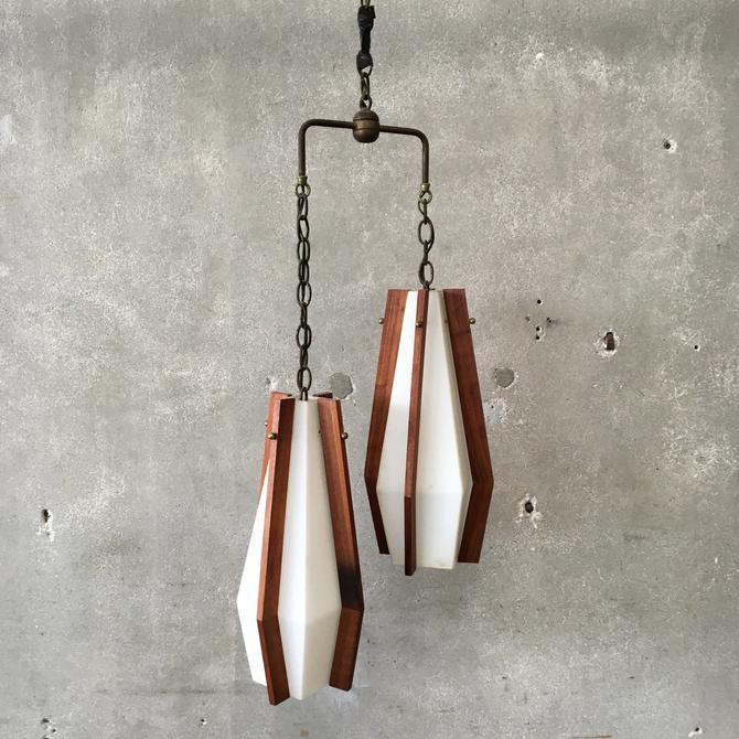 Mid Century Double Hanging Walnut & Glass Light