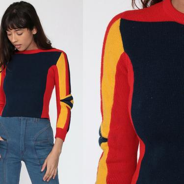 Vintage Ski Sweater PADDED Winter Sweater 80s Navy Wool Shirt Sportswear Pullover Striped Sweater Jumper Winter Wear 1980s Extra Small xs by ShopExile