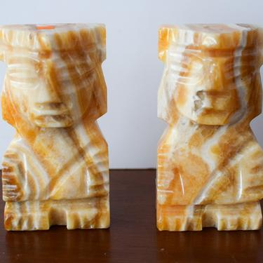 Pair of Vintage Marble Mayan Bookends by CapitolVintageCharm